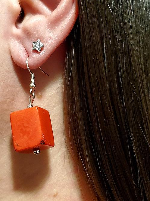 Cube Tagua Nut Earrings