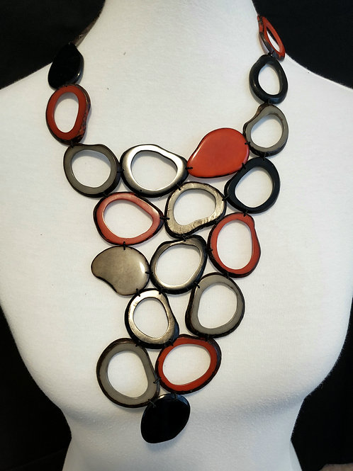 Yunka Tagua Nut Necklace ( Ohio Ste Colors )