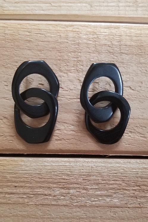 Chain Tagua Nut Earrings ( Black Color )