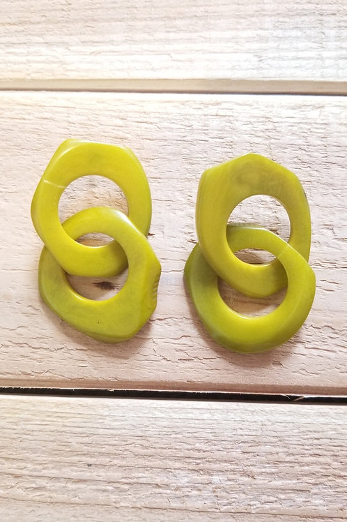 Chain Tagua Nut Earrings ( Lime Color )