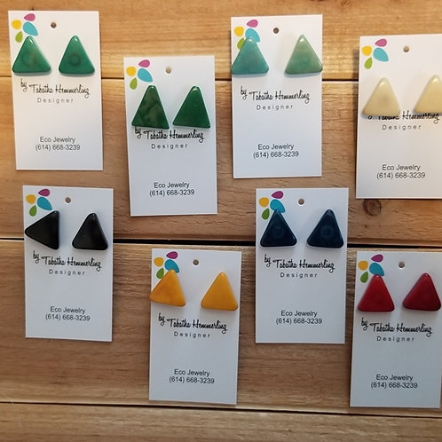 Triangle Tagua Nut Earrings