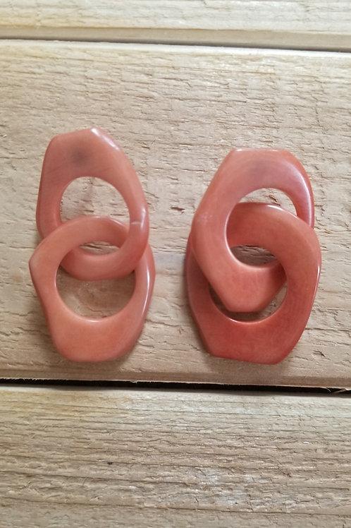 Chain  Tagua Nut Earrings ( Coral # 1 ))
