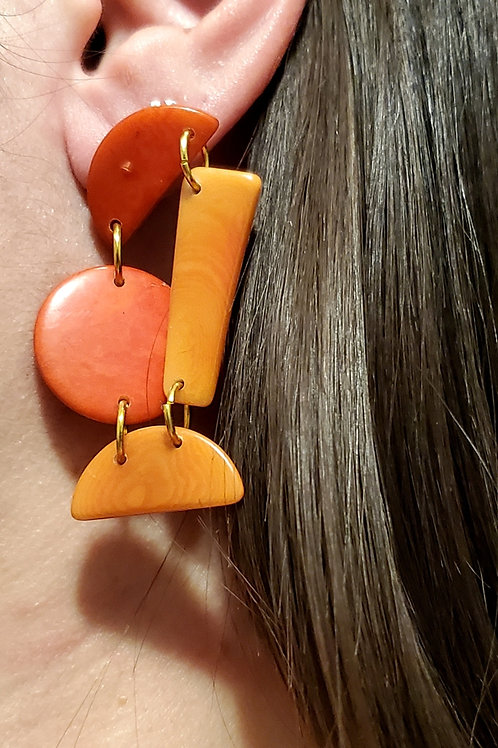 Geometric Tagua Nut Earrings