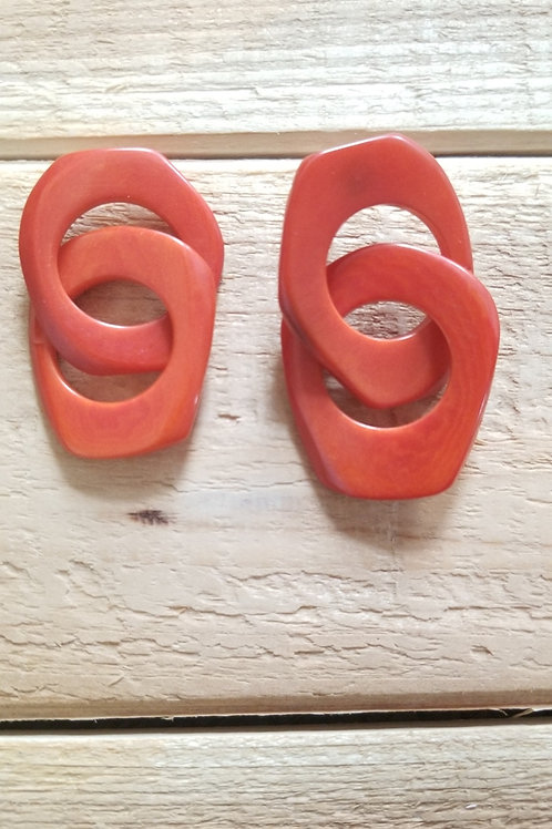 Chain Tagua Nut Earrings ( Coral # 2 )