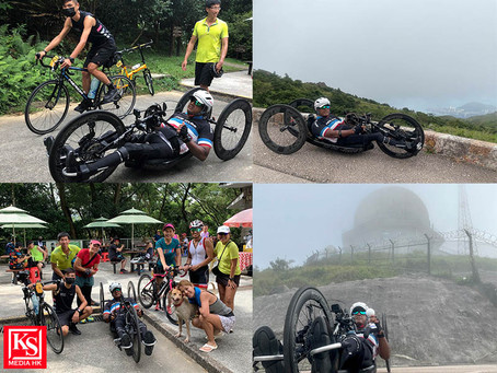 香港殘障運動員施杰浩(Ajmal Samuel)挑戰大帽山帽嶺盃 創下香港紀錄備戰 K2K 遠征計劃 以手動單車由喀什前往卡拉奇 望促進社會共融