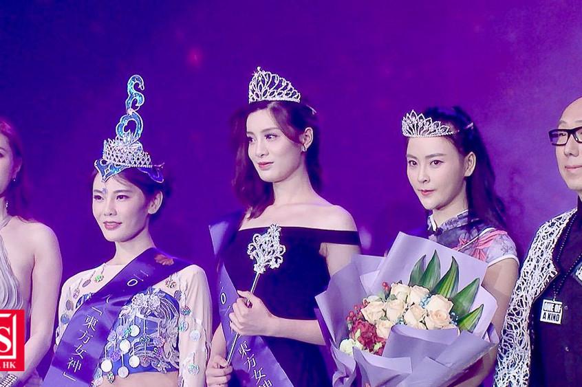 左起)王錦睿、亞軍陳芊淇、冠軍張利銥、季軍吳丹、張學潤「東方女神」選美大賽總決賽