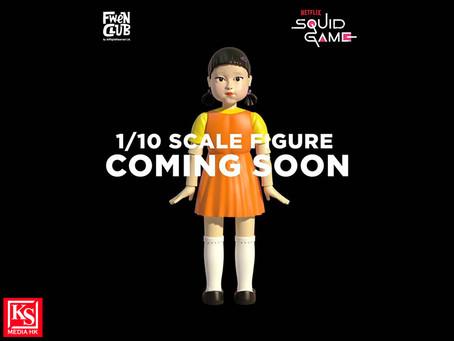FWENCLUB今日宣佈,已獲得Netflix獨家授權,將劇中第一個遊戲「一二三,木頭人」裡的木偶製成1比10公仔