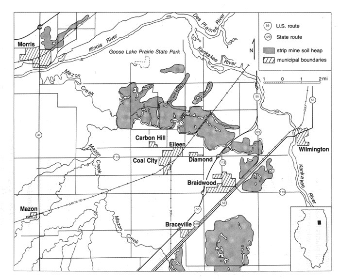 Mazon Creek Area Map