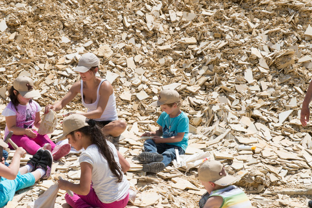 Children collecting in Hobby Quarry near Eichstätt, Germany