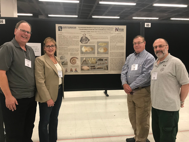 Dr. Chris Duffin, Dr. David Ward, Rene' Lauer and Bruce Lauer at 2018 SVP Conference with Poster