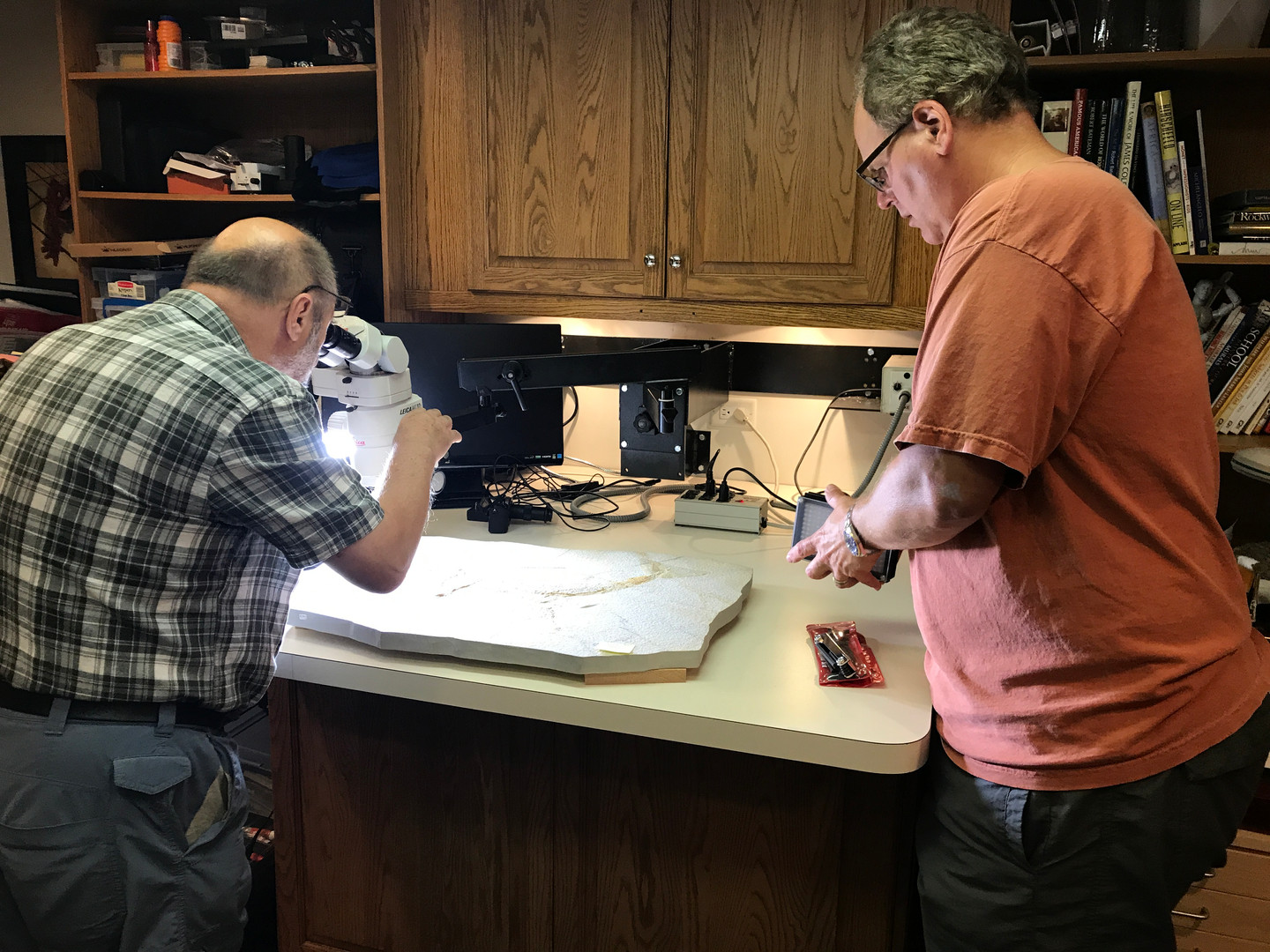 Dr. Chris Duffin, Natural History Museum of London and Bruce Lauer in the Foundation Lab