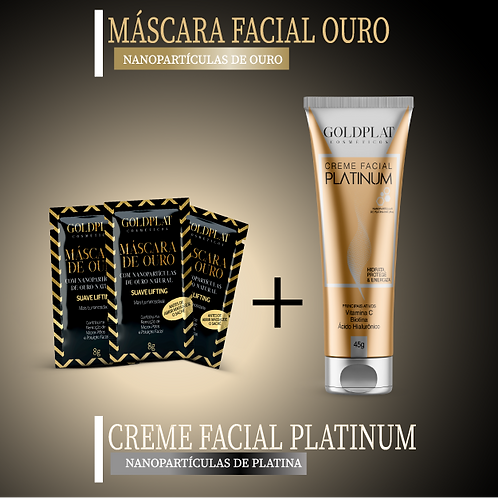 Kit Rejuvenescedor Facial 1 Creme Platinum + 3 Máscara Facial Ouro