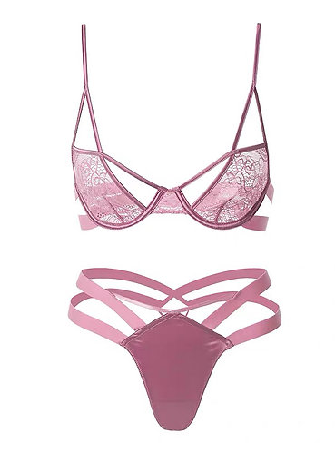 Caroline Wide Strapping Lace Bra Set Pink