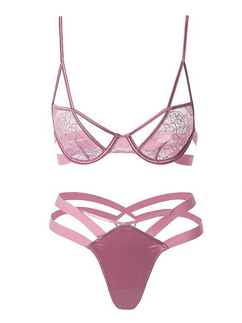 Caroline Wide Strapping Lace Bra Set Pink