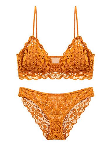 Juno Gold Ochre Floral Lace Bralette Set