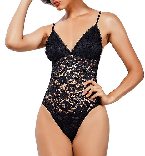 Rebecca Deep V Floral Lace Teddy