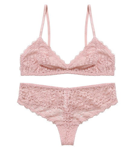 Selected Floral Lace Bralette and Thong