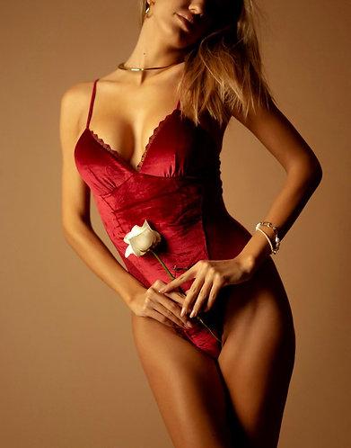 Rosalina Velvet Bodysuit Red