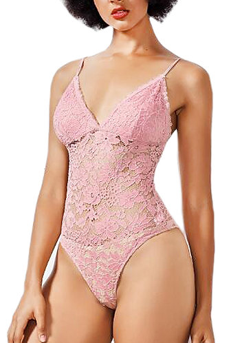 Rebecca Deep V Floral Lace Teddy Pink
