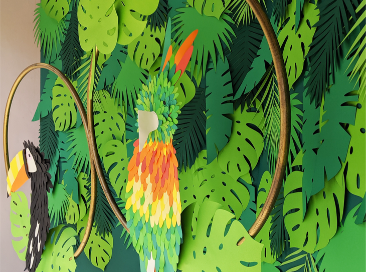 Bespoke hand crafted paper parrots for T