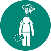 white graphic of person standing with backpack on, holding paper, head hanging low with  cloud of thoughts overhead