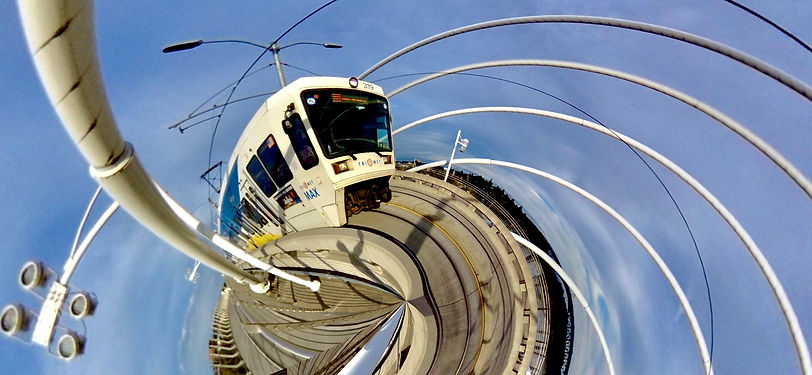 Photo of Tri-Met Max train with spiral photo effect