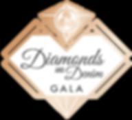 Gold logo depicting a stylized diamond with text: Diamonds and Denim Gala