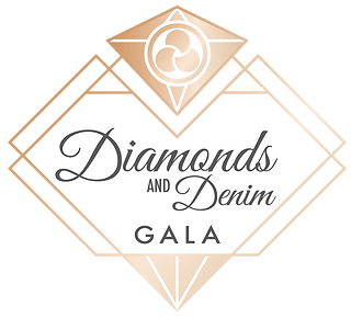 Gold logo depicting a stylized diamond with text: Diamonds and Denim Gala