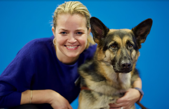 Headshot of Emily Purry and her guide dog, Bevy