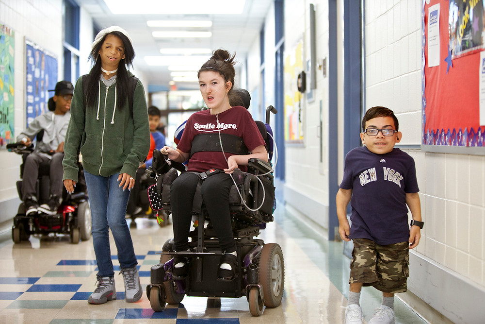 Viscardi Center High School Students walking in Hallway