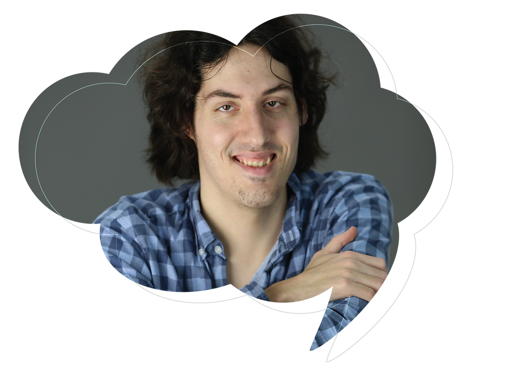 headshot of Mitch Blatt in speech bubble graphic