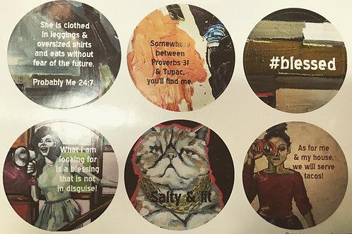 faith based humor sticker sheet