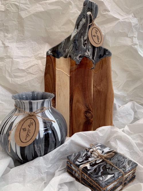 Black White & Grey Vase, Serving Board & Coasters Set