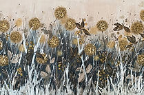 Happy Together painting, mustard yellow painting, yellow and grey painting, dandelion seedhead painting, commissioned textured painting, palette knife painting of dandelions, knife painting of dandelion seedheads, abstract flower painting, yellow abstract flowers, abstract floral artwork