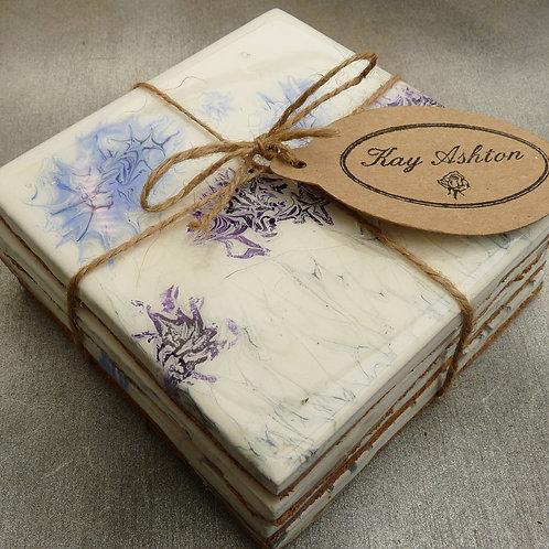 Purple Dandelion Seedhead Coasters