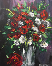Red and White Poppies In A Vase