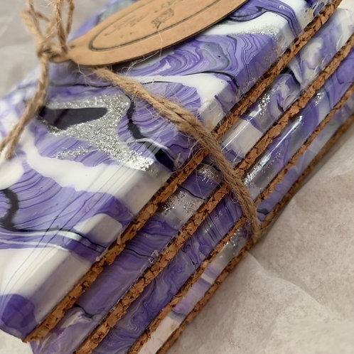 Purple, Violet, White and Sparkly Silver Coaster Set