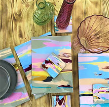 coasters and placemats, bespoke placemats, Tony Green placemats, Tony Green coasters, abstract placemats, abstract coaster set, pastel colour coasters, abstract dining set, bespoke abstract placemats and coasters