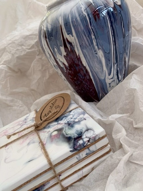 Deep Burgundy, Blue and White Small Vase and Coasters Set