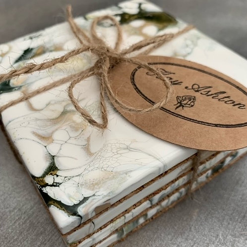 Deep Olive Green, Gold and White Ceramic Coaster Set