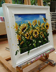 Sunflower painting, palette knife sunflowers, small sunflower painting, painting of sunflowers, field of sunflowers, three d textured painting of sunflowers, framed sunflower painting, Kay Ashton Fine Art, textured painting, original sunflower painting, painting sunflowers, painting on picture frames, painting of photo frames
