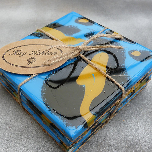 Funky Blue Black and Yellow Coasters