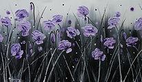Lavender Love, lavender palette knife painting, purple poppy painting, lilac poppy painting, Kay Ashton textured painting, purple poppy textured art, lavender poppies, lilac flowers, purple flower painting