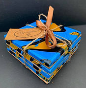 Bespoke resin coasters, handmade coasters, ceramic handmade coasters, bespoke coasters, resin coasters, colourful coasters, blue yellow and black coasters, Kay Ashton's coasters, coasters made by Kay Ashton