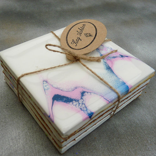 Blue Pink and White Coasters