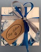 blue and white handmade coasters, set of coasters, grey blue and white coaster set, how to get some coasters made, coasters and placemat commissions, Kay Ashton ceramics