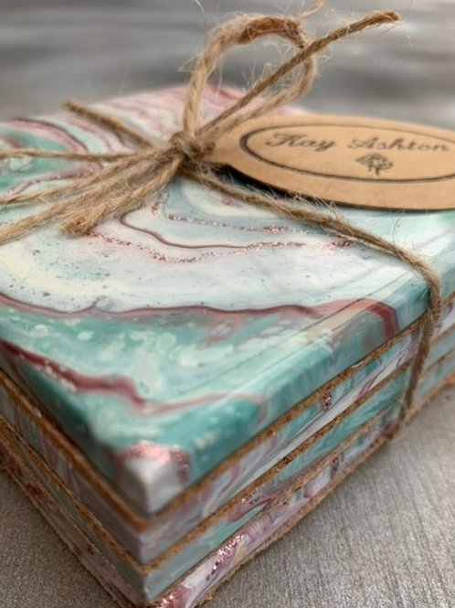 Muted Teal Deep Red,Pink and White Ceramic Coaster Set