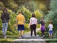 Father's Day Family Walk, family oil painting, commission a family portrait, commission an oil painting, warrington artist Kay Ashton, get a portrait done, oil painting of family walking