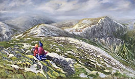 Lunch With A View oil painting, Keswick fell walking, Grisedale Pike fell, Grisedale Pike painting, painting of top of Grisedale Pike, Lake District fell walking painting, mountainscape oil painting, Lake District fells painting, Lake District painting
