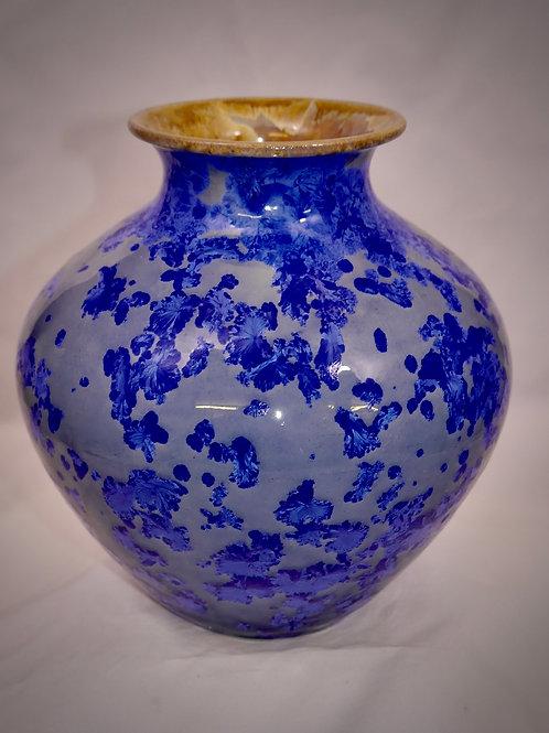 Wide Bellied Vase in Blue Crystalline